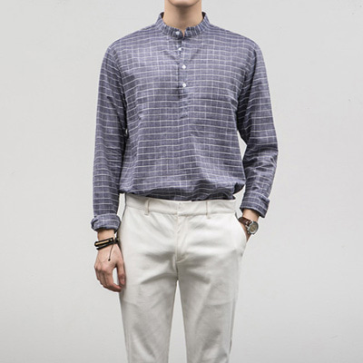 [BE2671]Squared Check Shirts( 1 color S~XL size )