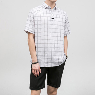 [BF1008]Check Loop Half Shirts( 2 color L/XL size )