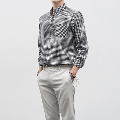[BF2434]Linen Check Shirts( 2 color S/M/L size )