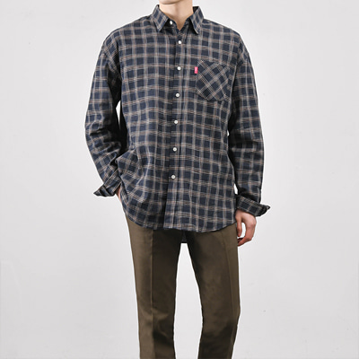 [BA1090]Over Check Shirts( 2 color Free size )