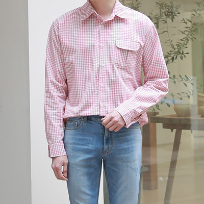 [BE2009]Mar Check Shirt(  3color Free size )