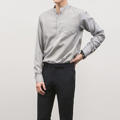 [BC1535]Leno Stripe Shirts( 4 color S/M/L size )