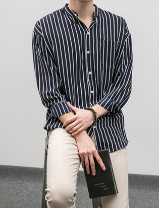 [BE1254]Nantes Stripe China collar shirts( 3 color Free size )