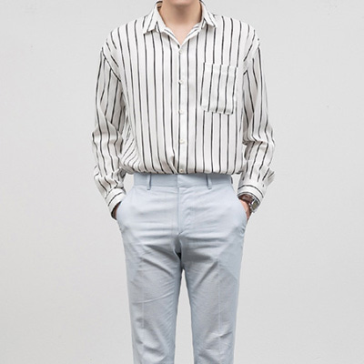 [BF1013]Satin Stripe Shirts( 2 color Free size )