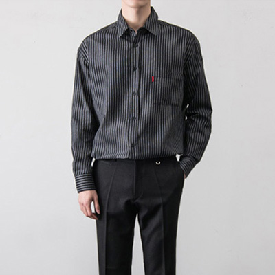 [BT1837]Double Over Stripe Shirts( 3 color Free size )