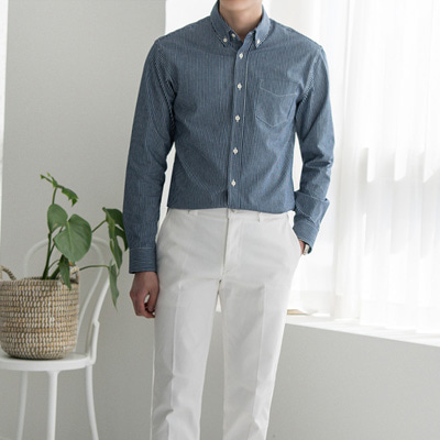 [BB2727]Stripe Button-down Shirts( 3 color M/L size )