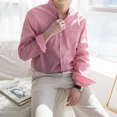 [BC1637]Spring Stripe Shirt(  3color M~2XL size )