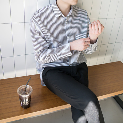 [BC1635]Big Pocket Stripe Shirt(  4color Free size )