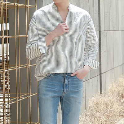 [BE2011]Simple V Stripe Shirt(  2color Free size )