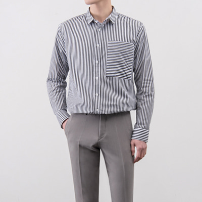 [BA3161]Terry Stripe Shirts( 2 color M/L/XL size )