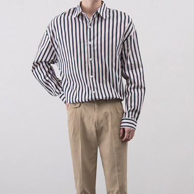 [BA3148]Flip Stripe Shirts( 3 color Free size )