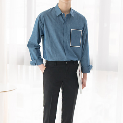 [BC2851]Square Embroidery Denim Shirt( 2color M/L Size)