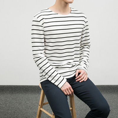[BC2266]Embo Stripe Tee( 3 color Free size )