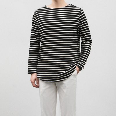 [BC1532]Boat-neck Stripe Tee( 3 color Free size )