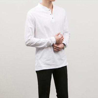 [BC1538]Henly-neck Tee( 4 color M/L/XL size )