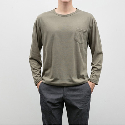 [BP3018]Simple Pocket Tee( 10 color Free size )