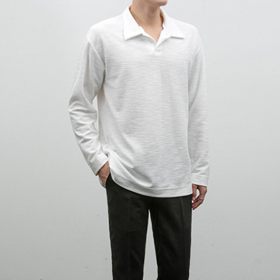 [BS1351]Slub Half Collar Tee( 3 color Free size )