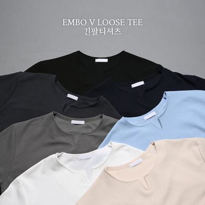 [BS1362]Embo V Loose Tee( 7 color M/L/XL size )