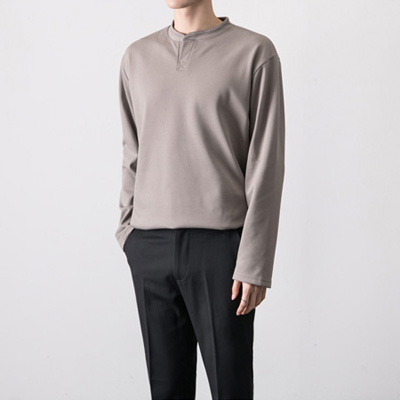 [BT2602]Open-neck Nap Tee( 3 color Free size )