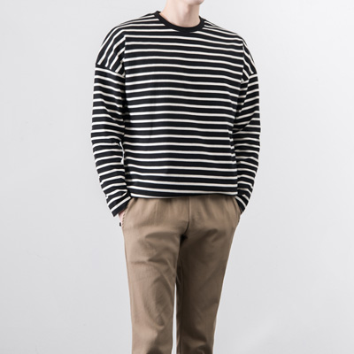 [BA2430]Stripe Over Tee( 2 color Free size )