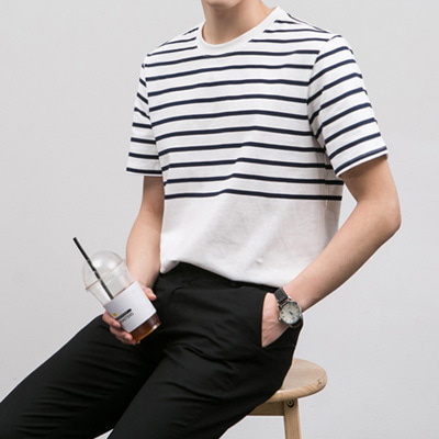 [BE0514]Half Stripe Tee( 2 color Free size )