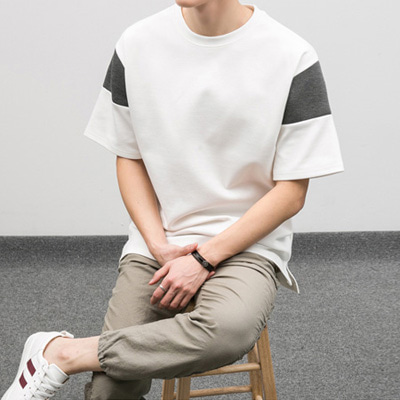 [BE1247]Neoprene combination half Tee( 2 color Free size )