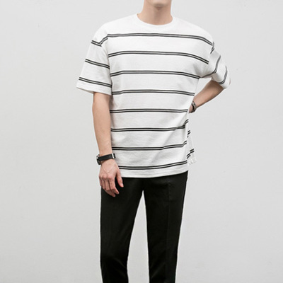 [BF2431]Barcode Half Tee( 4 color Free size )
