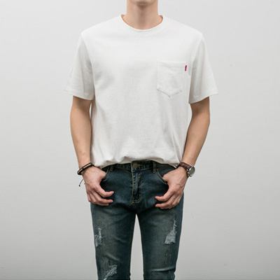 [BF2429]Pocket Basic Half Tee( 9 color Free size )
