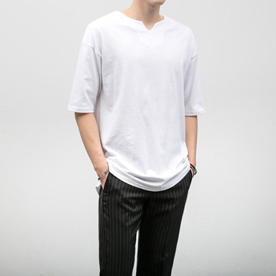 [BJ0890]v Line Neck Half Tee( 5 color M/L size )