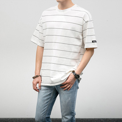 [BJ0894]Pin Stripe Half Tee( 6 color Free size )