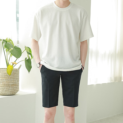 [BJ0812]1+1Embo Basic Half Tee( 8 color M/L/XL size )