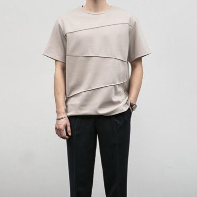 [BE2661]Pin-tuck Half Tee( 4 color Free size )