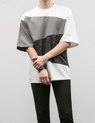 [BE2662]Line Block Half Tee( 3 color M~XXXL size )