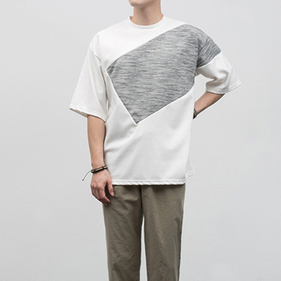 [BF2430]Slash Half Tee( 2 color M~XXXL size )
