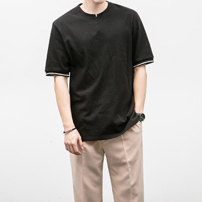 [BJ0257]Flow Line Half Tee( 2 color Free size )