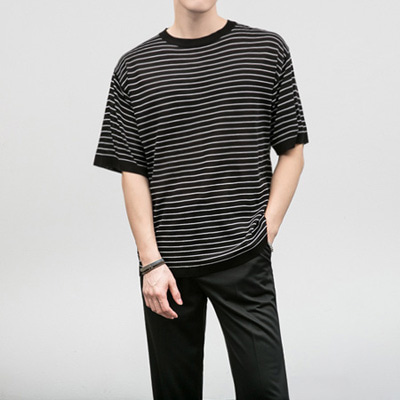 [BF1001]ST Knit Half Tee( 4 color Free size )