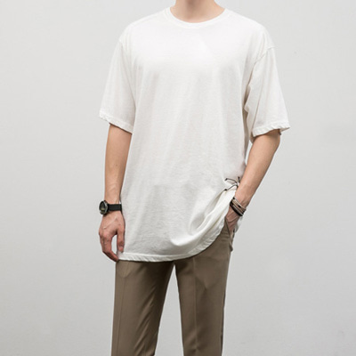 [BF2421]Pigment Half Tee( 7 color Free size )