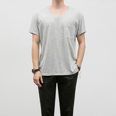 [BF2450]U-neck Half Tee( 3 color S/M/L size )