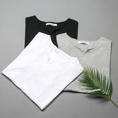 [BL0594]Slab cutting neck half tee( 3 color S/M/L size )