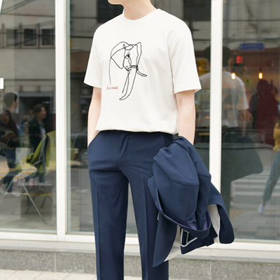 [BE1384]Elephant Drawing Tshirts(  4color Free size )