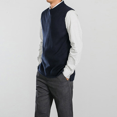 [BS0724]Half Neck Vest( 6 color Free size )