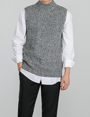 [BS0725]Time Knit Vest( 4 color Free size )