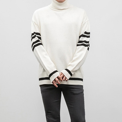 [BX2428]Stripe Point Turtleneck( 3 color Free size )