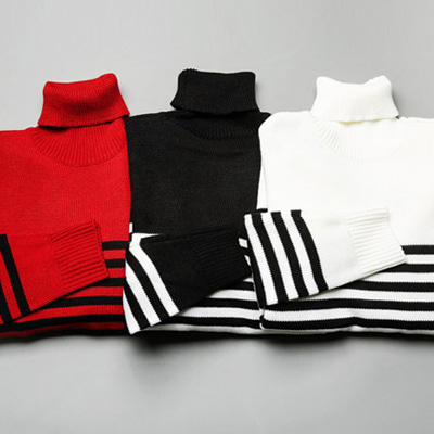 [BY1590]Bar Stripe Pola Knit( 3 color Free size )