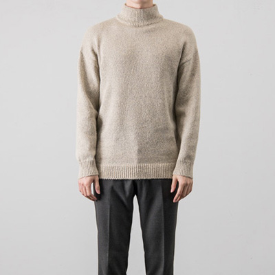 [BX0825]Bokashi Half-neck Knit( 4 color Free size )