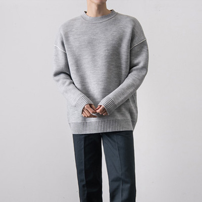 [BT2687]Wool Double Line Knit( 4 color Free size )