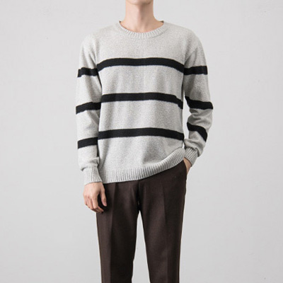 [BX0827]Net Stripe Knit( 2 color Free size )